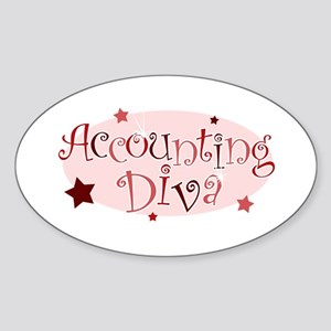 """Accounting Diva"" [red] Oval Sticker"
